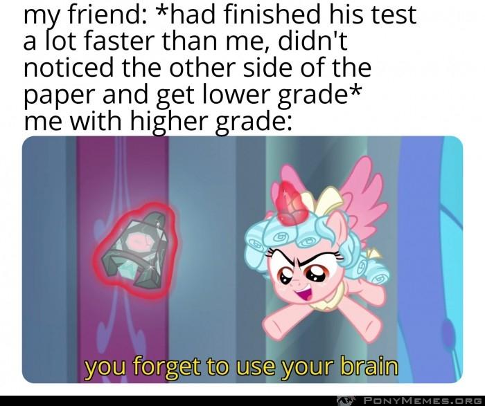 Kolega nie umie używać mózgu na testach